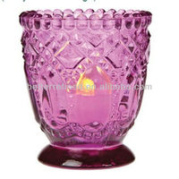 fuchsia pink glass tealight candle holder