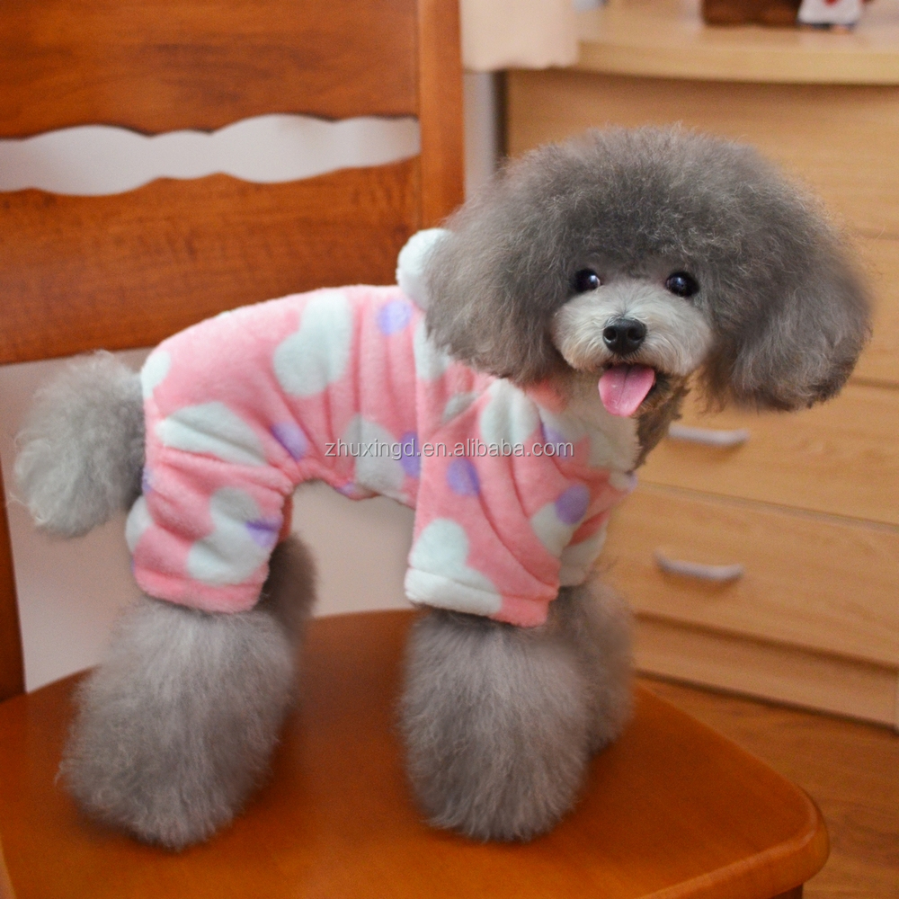 Winter dog clothes, coral fleece pet overalls clothing with hood, dog clothes factory