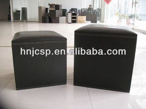 faux leather square pouf