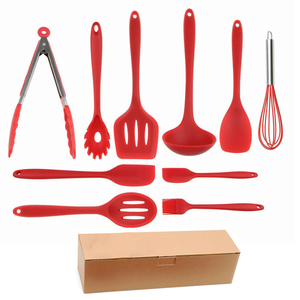 Silicone Kitchen Utensil Set 10 Piece heat resistant Non-Stick Baking Tool Silicone Utensils Cooking Tools spatula Whisk BBQ set