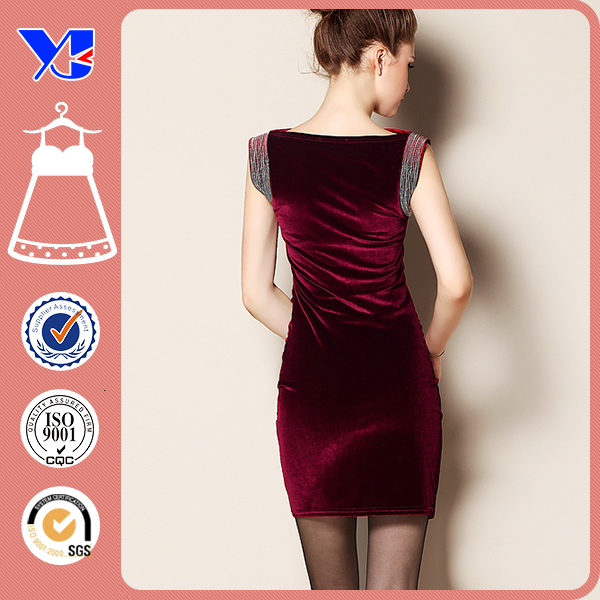 Shoulder Decoration Velvet Pleuche Sleeveless Tight Red