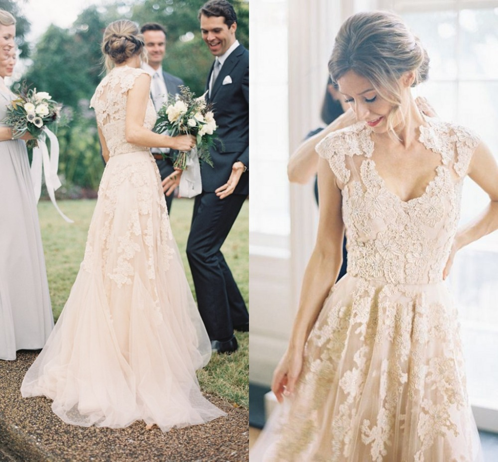 Simple Elegant Country Style Wedding Dresses With Lace: Buy Vintage Champagne Lace Cap Sleeves Wedding Dresses