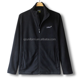 Winter Outdoor Working Uniform Black Zip Front Fleece Jackets Men