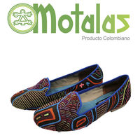 Women Flat Mola Shoes made of recycled Fabric, Incredible hand stitched work of the Kuna indias.