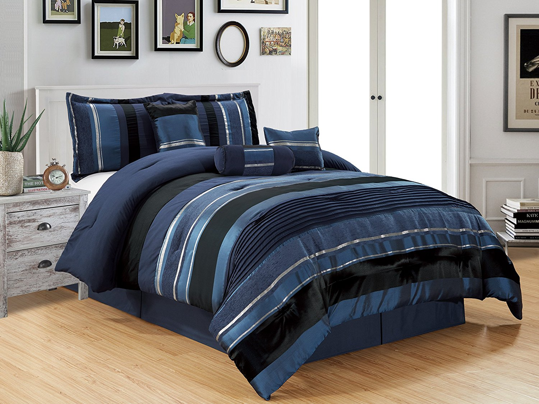 Get Quotations 7 Piece Navy Blue Black Silver Stripe Chenille Comforter Set 94 X 90