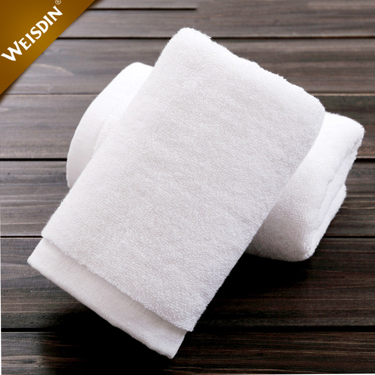 China hotel supplier custom embroidered white hand face bath towel set terry cotton hotel towel