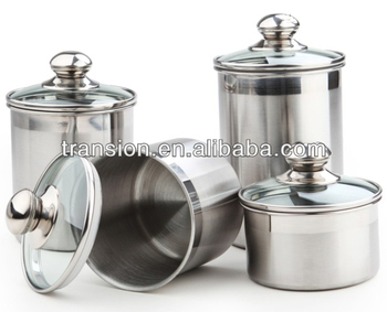 Stainless Steel Airtight Canister Food Container With Glass Lid