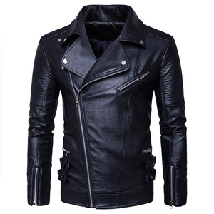 2019 Expensive new Winter jacke tide fashion style black faux genuine leather jacket coat men biker motorcycle jackets with