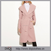 2017 Latest designs Factory Price custom Ladies Pink Oversized Shawl Collar Wrap Coat