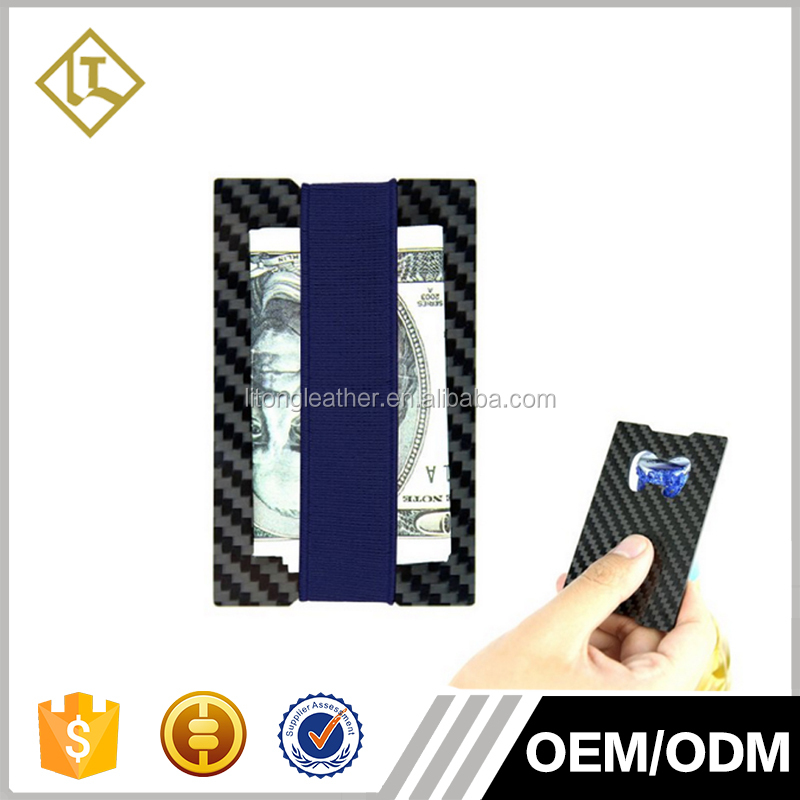 Carbon Fiber Leather Money Clip Card Holder Slim Wallet Emergency Bottle Opener
