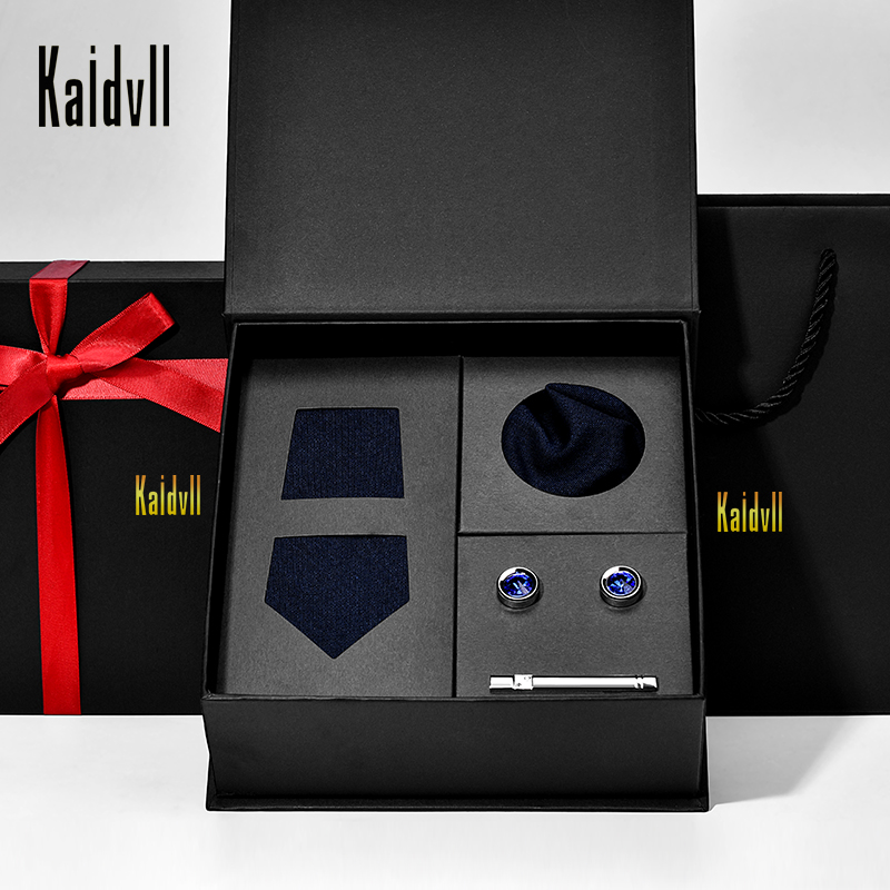 No MOQ  Wool Necktie Pocket Square Tie Pin Brooch Black Tie  Set with Gift Box for Gift