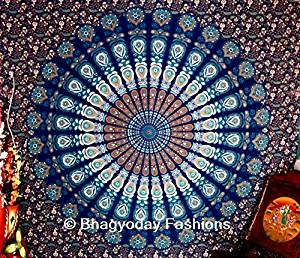Indian Multi-colored Mandala Tapestry,indian Wall Hanging Bedsheet, Coverlet Picnic Beach Sheet , Superior Quality, Peacock Mandala Tapestries, Bohemian Bedspread Throw Decor Queen 86x94 By Bhagyoday