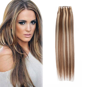 Grade 9a double drawn virgin brazilian hair skin weft 24# 6# piano color human hair weft