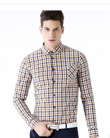 New slim fit Men's cotton dress shirts for check shirt(001), View ...