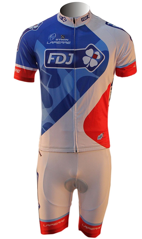 Get Quotations · FDJ Cycling Jersey and Bib Shorts Set White Outdoor Sports  Pro Team Men s Short Sleeve Summer a4a6a32d5
