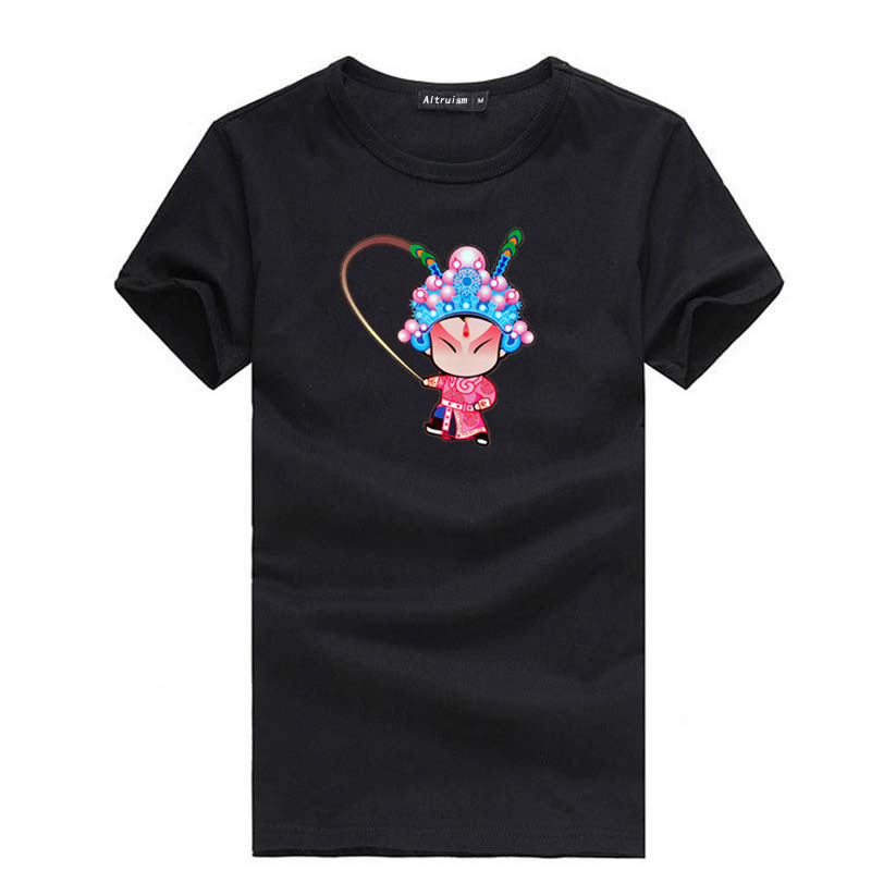 New 2015 Chinese style t shirt print Beijing opera character short-sleeved men t shirt top quality fashion t shirt for lovers