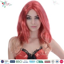Styler Brand wholesale red orange curly hair wig women 21 inch long doll wig