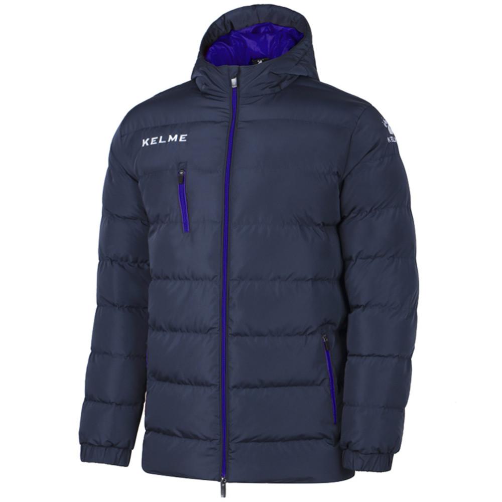 Kelme K15P010 hombres al aire libre invierno medio largo Collar con capucha cremallera abajo chaqueta azul marino rojo
