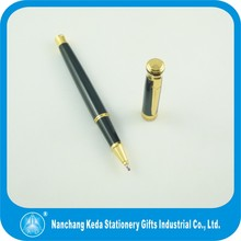 High quality heavy black metal roller pen with golden clip