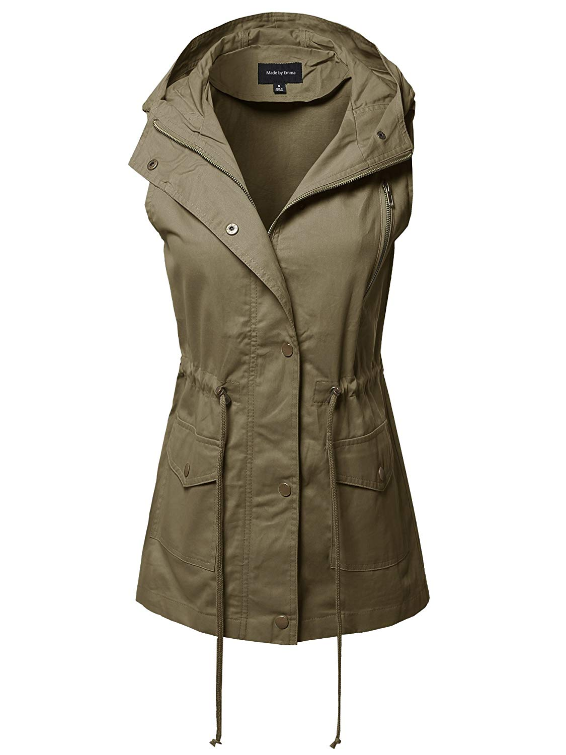 6798fbed03830 Get Quotations · Made by Emma Women s Sleeveless Safari Military Utility  Drawstring Hoodie Vest Jacket (S ~ XL