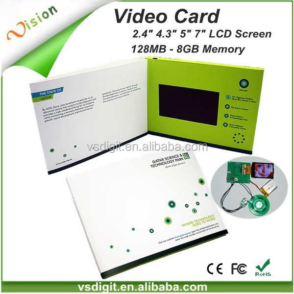 "Shenzhen Factory Custom Business Promos 2.4"" 4.3"" 5"" 7"" 10"" LCD Video Brochure Card"