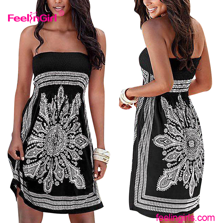 Black Strapless Bandeau Girl Printing Casual Dress