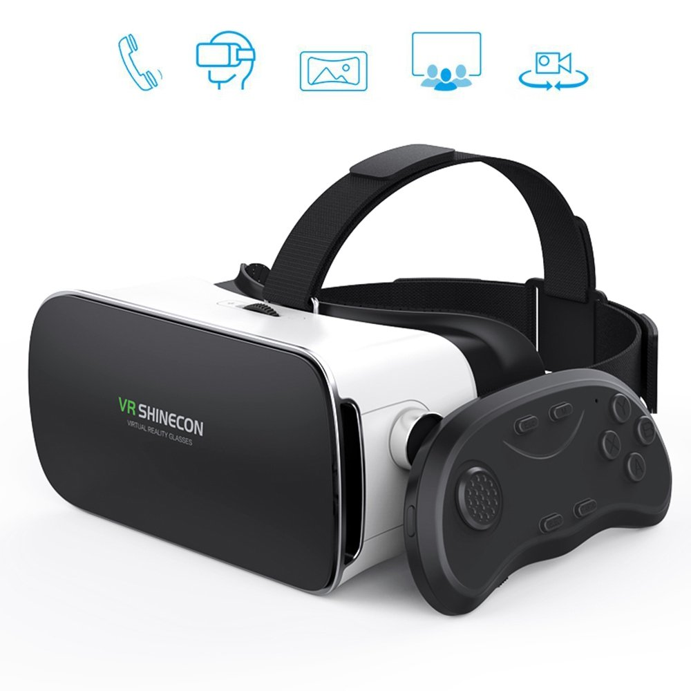 """VR Shinecon 3D Glasses Virtual Reality Headset with Remote Controller for VR Games & 3D Movies, Enjoy with 1080"""" Huge Screen at Home, Eye Care System Compatible for iPhone and Android Smartphones"""