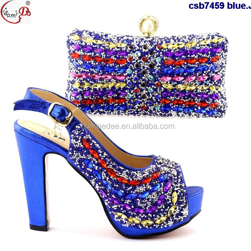 heel bag blue handbag shoes csb7459 high party set Wholesale and shoes and nigeria lady fashion q10ZxwP