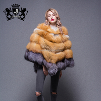 Brown and grey plain cloak like coat winter orange color winter women real knitted fox fur cape