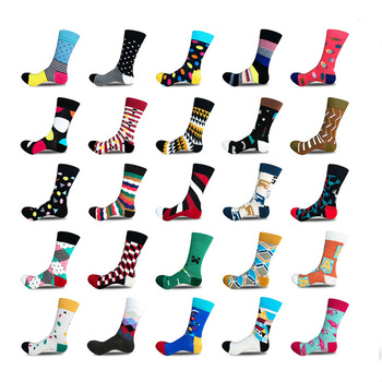 new arrived fashion colorful art pattern happy drew cotton custom dress socks for mens
