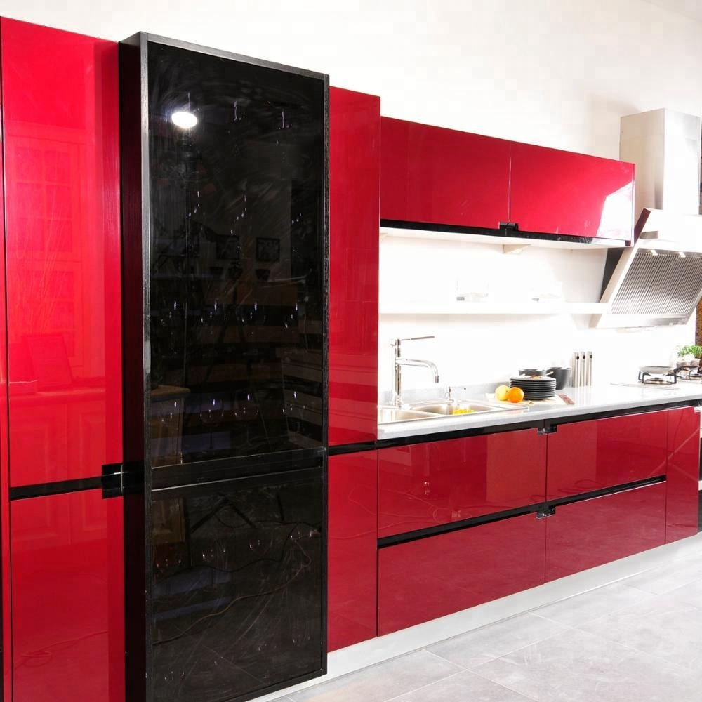 High Gloss Kitchen Cabinets,Fashion Red And Black Kitchen