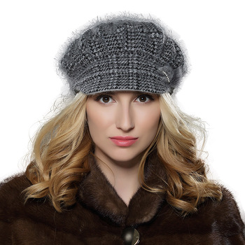 a19e409d65598 New slouch women winter angora wool knit beret cap for double layered lady  hat with fashion