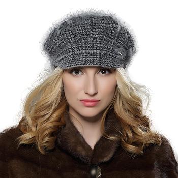 7ddc8fbad5346 Novas mulheres inverno desleixo cap boina de lã angorá malha para decoração  de dupla camada chapéu