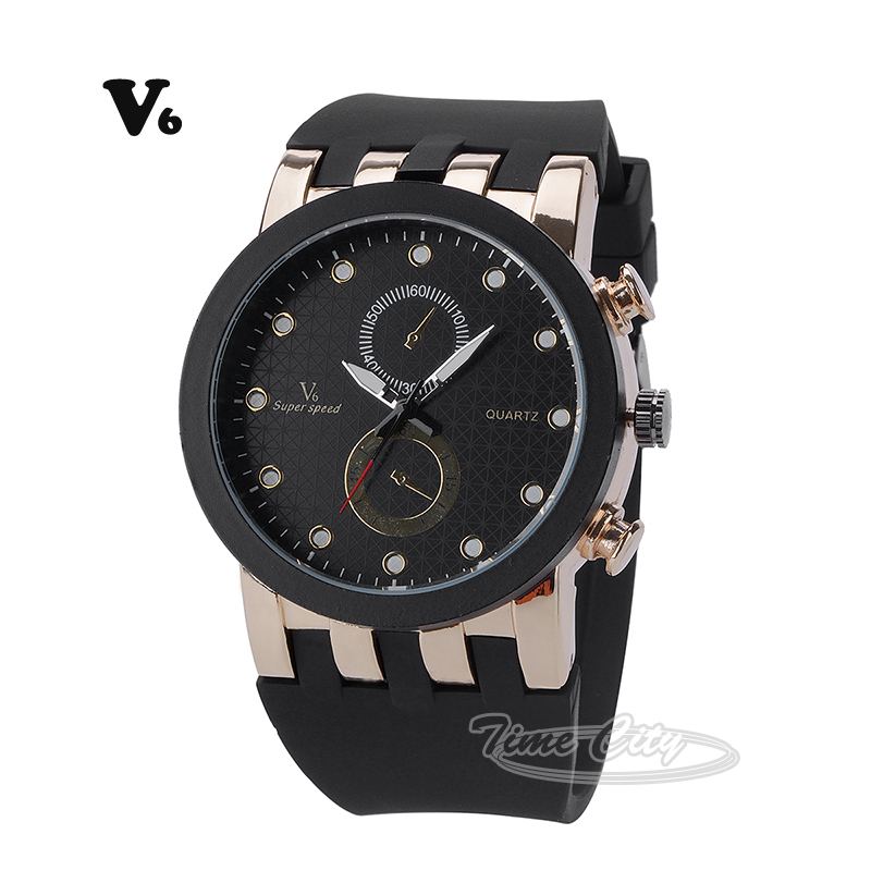 2015 Sports Men's Quartz Watch Black Silicone Strap Famous Brand V6 Hours Casual Fashion Luxury Hot Unique Design Wrist watches