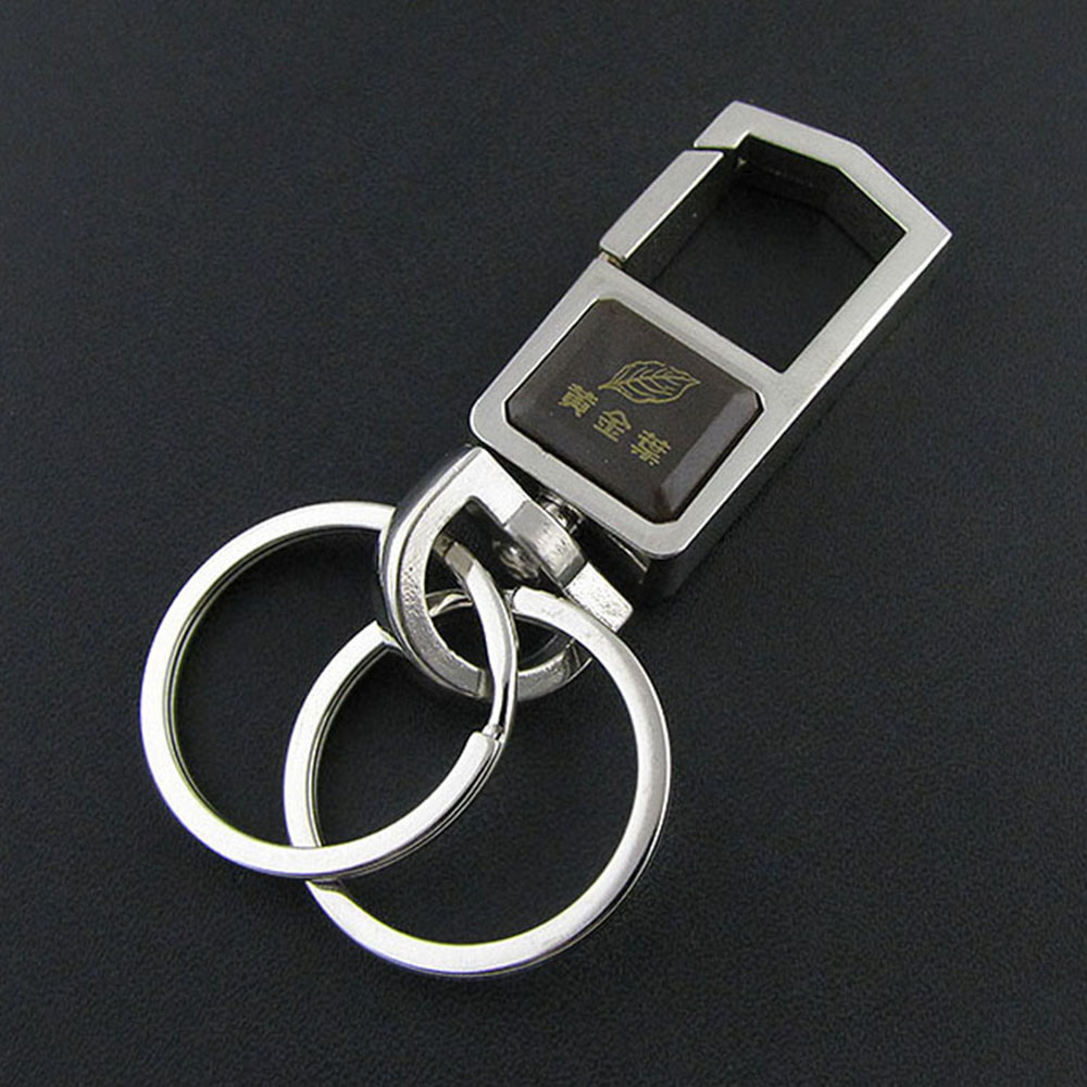 Click Black Leather Keychain Shiny Chrome Plated Metal Man's Strap Key Chain Car Key Ring Holder With Gift Box
