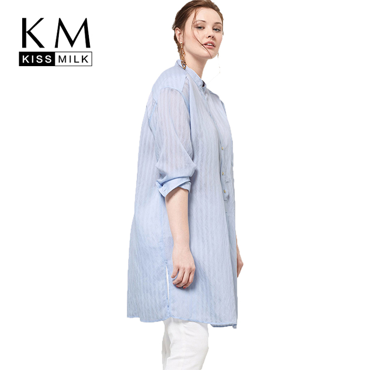 Kissmilk Women Plus Size Semi Sheer Button Down Shirts Long Sleeve Stripe Turn Down Collar Top Loose Blouse for Wholesale