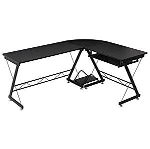 Black L-Shape Corner Computer Desk Flexible Keyboard Tray Laptop Notebook PC Full-Size Workstation Study Writing Spacious Work Station Table Home Office Furniture Anti-Scratch Rust Free Large Worktop