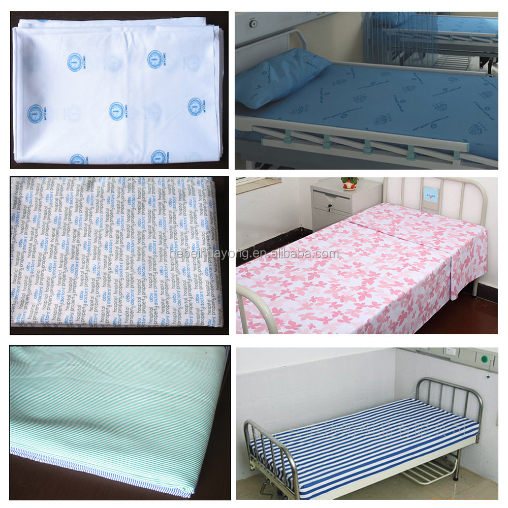 factory price CVC hotel /hospital printed bed sheet roll fabric