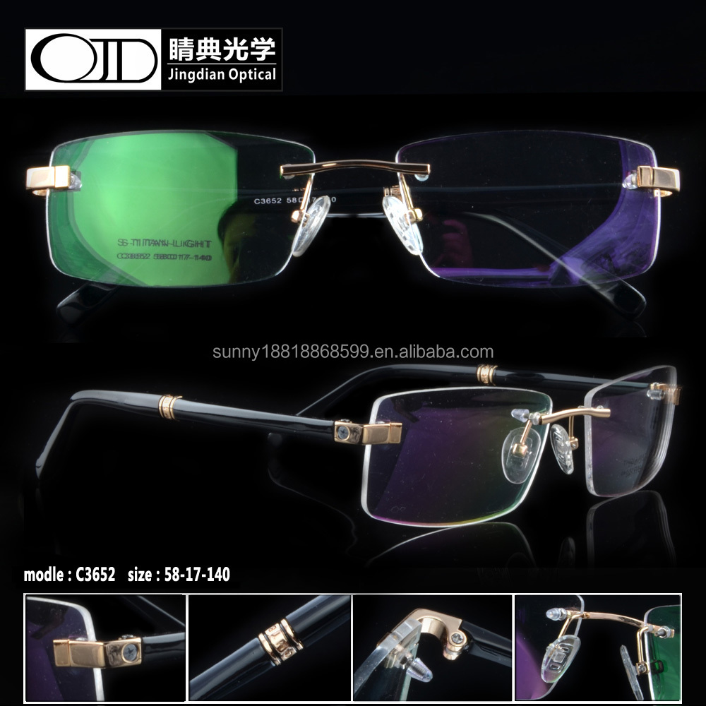 2015 wholesale glasses frame cheap titanic frame rimless optical frame C3652
