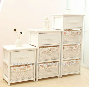 White Finish Wood Night Stand Country Style Bedside Table With Drawer Room Set Furniture