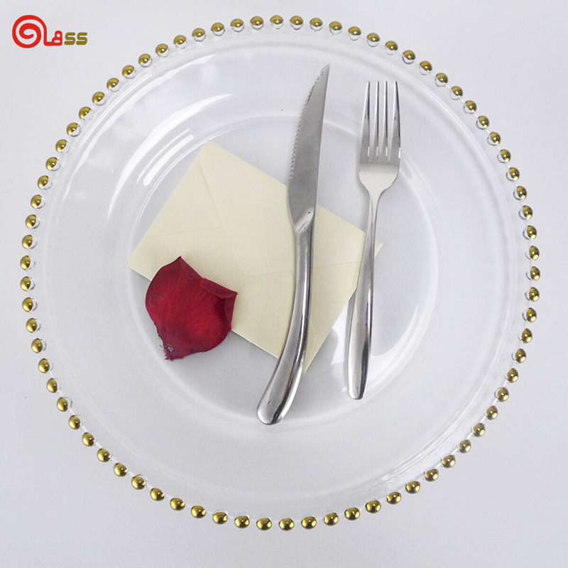 Gold rim glass charger <strong>plates</strong> dinnerware set fruit service <strong>plate</strong> for wedding banquet