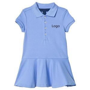 100% Cotton Custom Logo Polo Dress For Girls