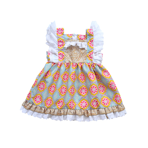 Latest Skin-friendly Cotton Cute Floral Printed Ruffle Sleeveless Dress Kids Girl