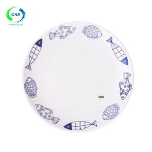 wholesale alibaba lots of fish porcelain plate set with simply decal