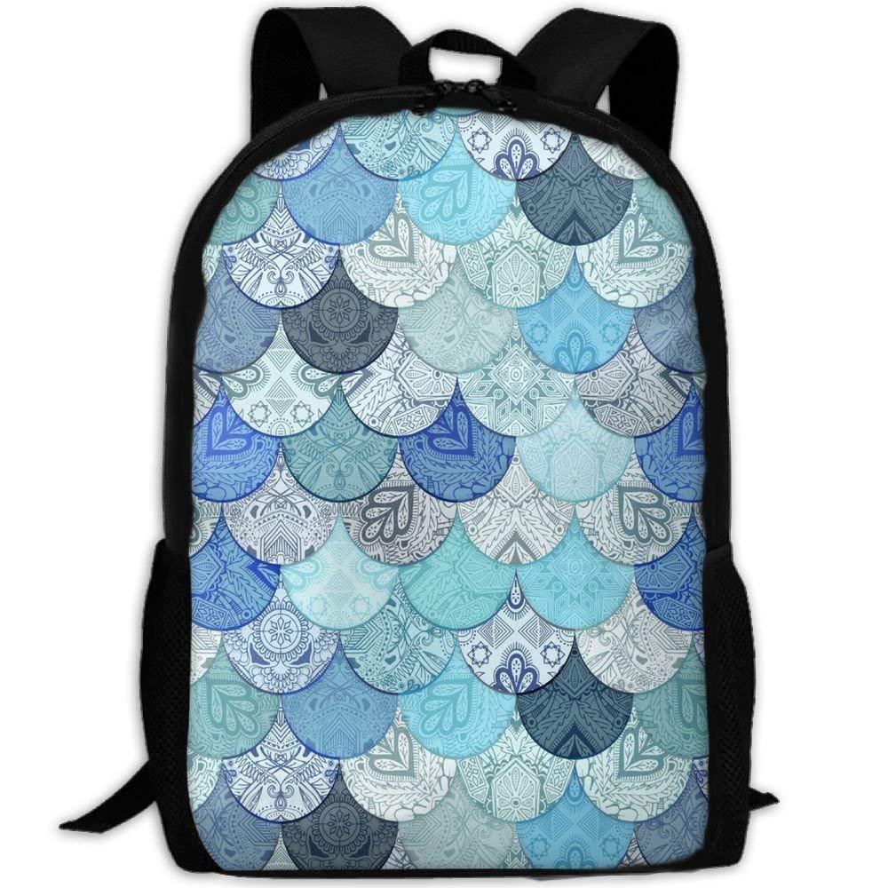 Henhao5 Boho Doodle Ocean Blues MermaidCollege Bookbag,Shoulder Bag,Hiking Daypacks,Hiking Backpacks,Hiking Bags,Gym Bags, Sports Bag,Camping Bag,Weekend Bag,