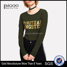 MGOO Fashion Design Ladies Thin Long Sleeve T Shirts Slogan Print Tee With Gold Foil Printing