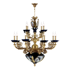 French style 12 arms blue ceramic antique brass candle chandeliers