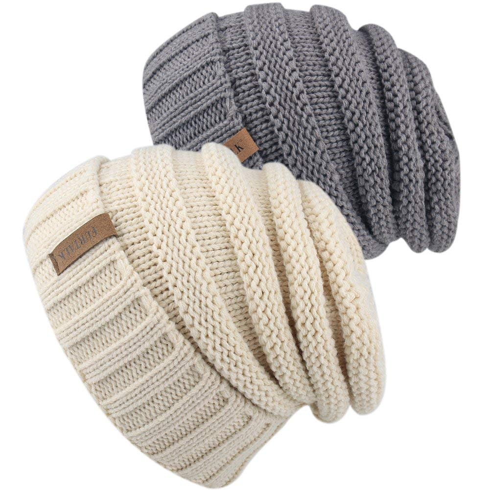 74875c46405 Knitted Winter Slouchy Beanie Hat - FURTALK Oversized Unisex Crochet Cable  Ski Cap Baggy Slouch Hats