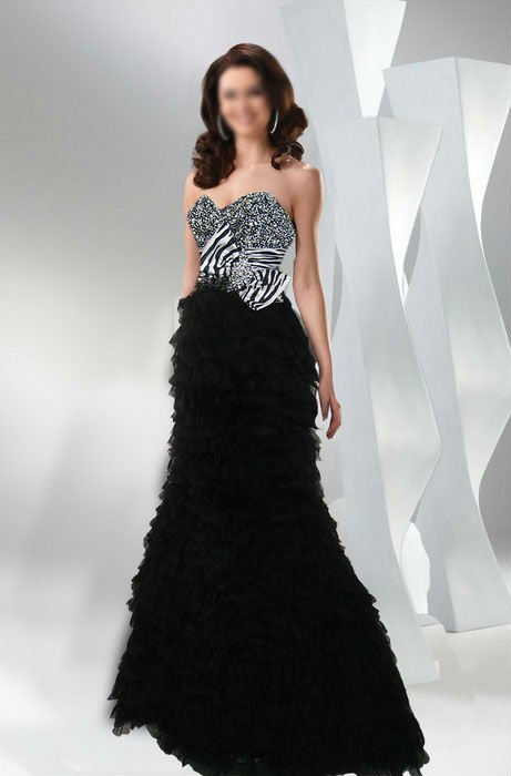 Black & White Beaded Formal Ball Gown - Buy Ball Gown Patterns ...