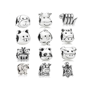 Best Price silver Dog Cat Pig Animal Charms